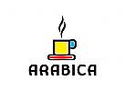 Kaffee Logo, Cappuccino, Macchiato, Kaffeebohne
