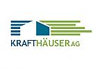 Ökohaus, zweifarbig, Signet, Symbol, Haus, Immobilie, Bau, Hausverwaltung, Logo