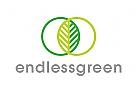 Öko, Zeichen, Signet, Logo, Grün, Natur, Pflanze, Gärtner, Landschaftsarchitekt, Blatt, Ringe