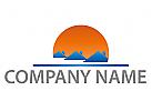 Sonne und Drei Häuser Logo