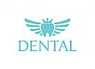 Zähne, Krone, Flügel, Engel, Zahnarzt Logo