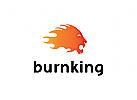 rot, brennen logo, L�we Logo, Feuer Logo