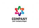Stern Logo, Beziehungen Logo, Gruppen Logo, Menschen Logo, bunt, Kinder, soziale Logo