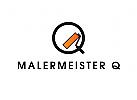 Logo, Maler, Farbrolle, Buchstabe, Q, Qualität