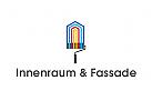 Logo, Maler, Farbrolle, Innenraum, Fassade