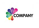 Druckerei Logo, Copyshop Logo, Medien, bunt, Blume, Gruppe Logo