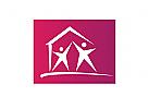 Logo, Haus, Sterne, Menschen, Immobile