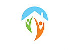 Logo, Haus, Dach, Menschen