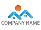 Zwei Häuser, Immobilien, Architekt, Immobilienmakler Logo