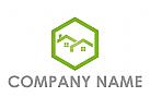 Sechseck und Zwei H�user, D�cher Logo