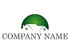 Ökologie, Zwei Häuser, Dächer, Kreis, Immobilien, Logo