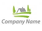 Ökologie, Zeichen, Skizze, Haus, Wiese, Immobilien, Logo