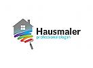 Ö Hausmaler, Malermeister, Handwerk, Maler, Maler Pinsel Logo
