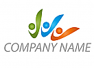 Drei Personen, farbig Logo