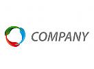 Ökologie, Technologie, Drei Tropfen in Farbe Logo