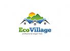 Öko, Haus, Heim, Immobilien, Makler, Dach, Dekor, Wohnung, Werbung Eco House