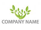 Zwei Hände und Blätter, Pflanze Logo