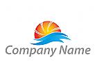Ökologie, Energie, Sonne und Wellen Logo