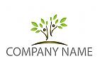 Zwei Personen, Bäume, Pflanzen Logo