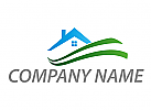 Öko-Haus, Zeichen, Zeichnung, Wiese, Haus, Dach, Immobilien, Logo