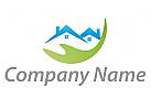 Ökohäuser, Häuser, Dächer, Hand, Immobilien, Logo