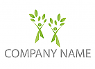 Zwei Personen, Zeichen, Zeichnung, Symbol, Pflanzen, Bäume, Logo