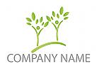 Zwei Pflanzen, Bäume, Menschen Logo