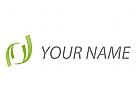 Wellen, Blätter in grün Logo