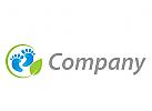 Zwei Füße und Kreis Logo