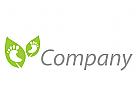 Zwei Füße und Blätter Logo