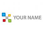 Viele Rechtecke verbunden, Netzwerk Logo