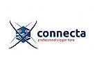 Verbindung Logo, Vereinigung, Software, Hardware, Technologie Logo