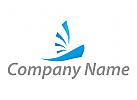 Segelschiff in blau Logo