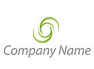 Ökologie, Spirale aus Halbkreisen in grün Logo