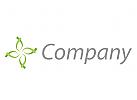 Vier Blätter, Blume in grün Logo