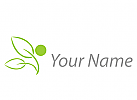 Zwei Blätter, Person in grün Logo