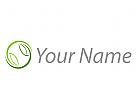 Zwei Blätter, Kreis in grün Logo