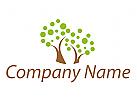 Zwei Bäume, Pflanzen Logo