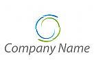 Zwei Spiralen in Grün und Blau Logo