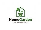 Haus, Garten, Blatt, Grün, Eco,  Natur, Floristik, Logo