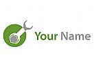 Schraubenschlüssel und Kreis Logo