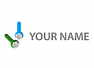 Zwei Schraubenschlüsseln, Schlosser Logo