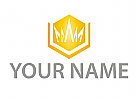 Zeichen, Skizze, Sechseck, Krone, Gold, Logo
