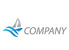 Segelschiff und Wellen Logo