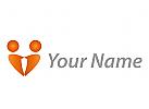 Zwei Personen, Paar als Herz Logo