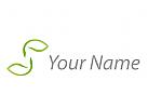 Zwei Blätter, Pflanzen in grün Logo