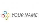 Vier Sechsecke, farbig Logo