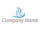Segelschiff, Boot in blau Logo