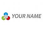 Würfel und Sechsecke, farbig Logo
