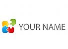 Öko, farbig, Rechtecke, Puzzle, Pixel, Logo